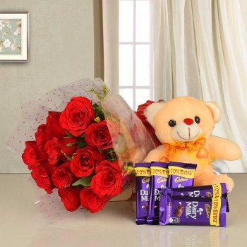 12 Red Roses in Cellophane Packing with 5 Cadbury's DairyMilk Chocolates (13.2 gms each) and 1 Teddy Bear (6 inches)