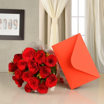15 Red Roses with Greeting Card (As per occasion)