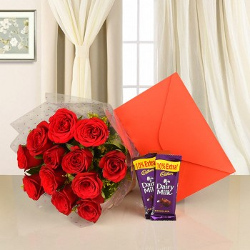 12 Red Roses with 2 Cadbury's DairyMilk Chocolate (25.3 gm) and Greeting Card