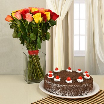 40 Assorted Roses with Black Forest Cake (Half Kg) and A Glass Vase