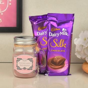 Strawberry Jar Candle with Dairy Milk Silk Chocolate
