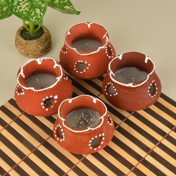 Decorated Earthen Pot Diyas
