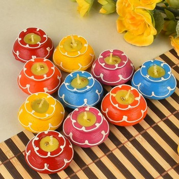 Colourful Earthen Pot Diyas