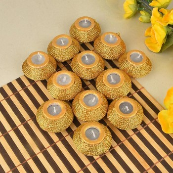 Set of 12 Matki Diyas having wax inside