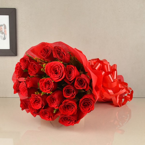 20 Red Roses wrapped in Red special paper