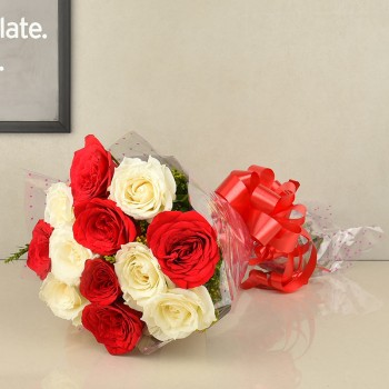 12 Roses (White and Red) wrapped in cellophane