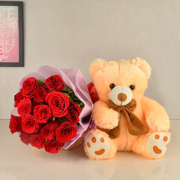 12 Red Roses with Teddy Bear (12inches)