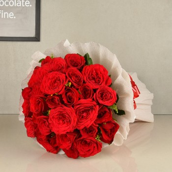 20 Red Roses wrapped in Special Paper
