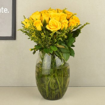 20 Yellow Roses in a Glass Vase