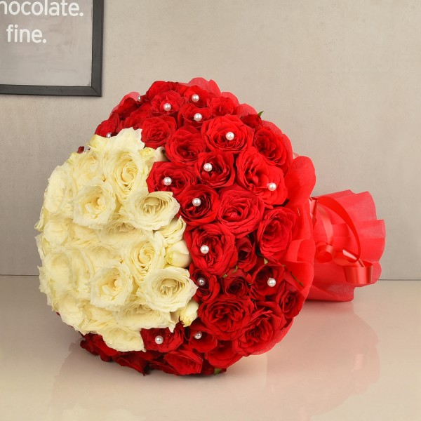 100 Red and White Roses Designer Arrangement in Special Paper