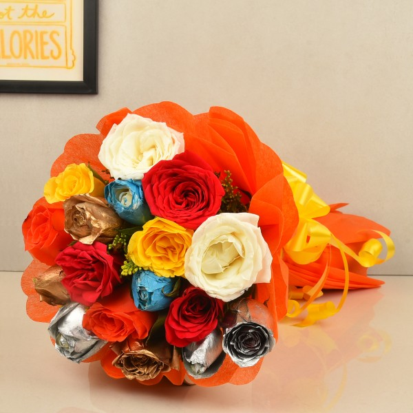 15 spray coloured Roses with Paper Packing