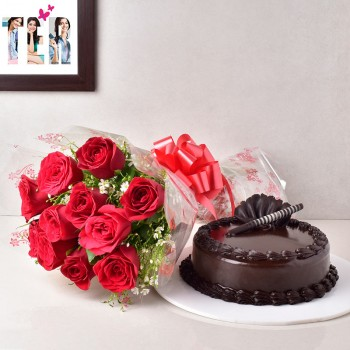 10 Red Roses with 1/2 Kg Chocolate Truffle Cake