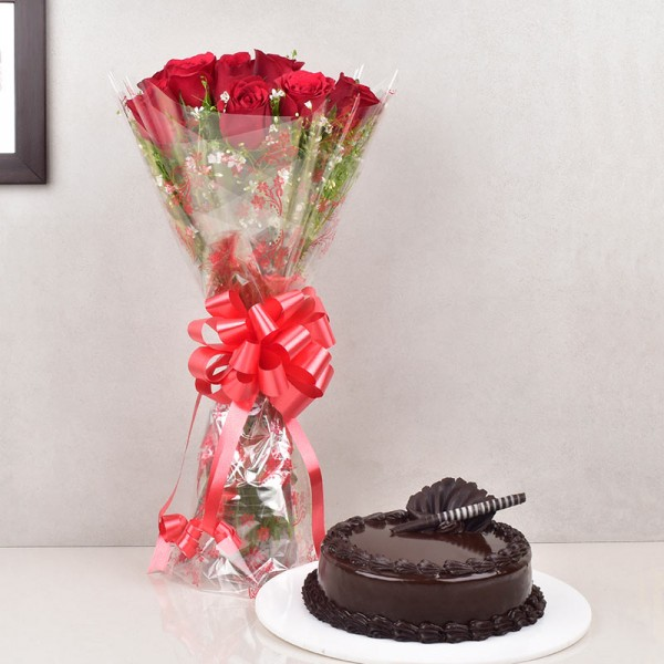 Truffle Cake and Roses Combo