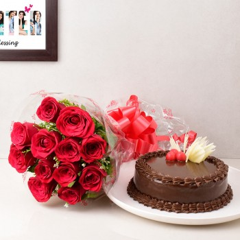 12 Red Roses with Half Kg Chocolate Cake