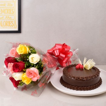 10 Mix Roses Bouquet with Half Kg Chocolate Cake