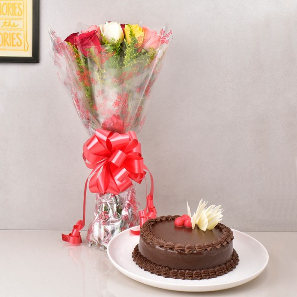 Chocolate Cake with Colorful Roses