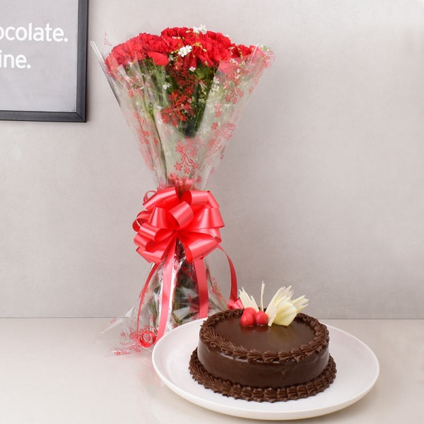 Red Flowers with Chocolate Cake