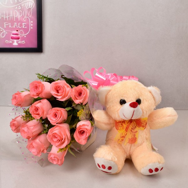12 Pink Roses with 1 Teddy Bear (6 inches)