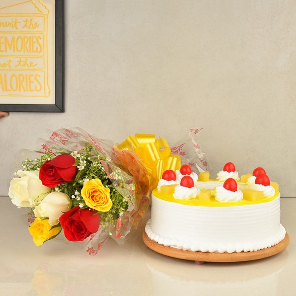 6 Mixed Color Roses and Half Kg Pineapple Cake