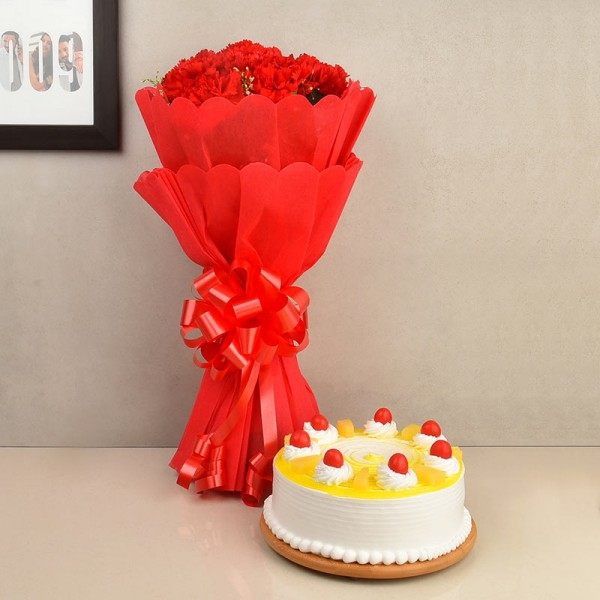 Flowers with Cake Combo