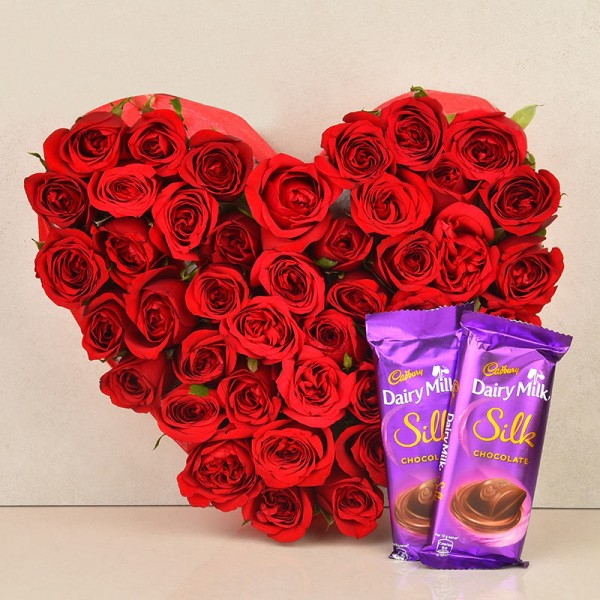 Heart-shaped Arrangement of 30 Red Roses with 2 Cadbury's DairyMilk Silk Chocolates