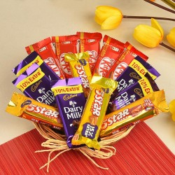 Chocolate Basket of 5 Kitkat (13.2 gm), 5 Dairy Milk (13.2 gm) and 4 five star (22.4 gm)