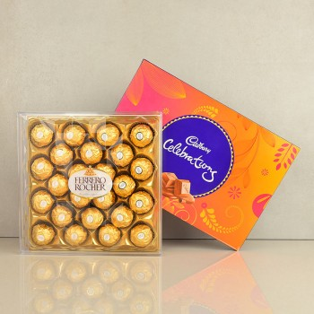 Pack of Cadbury Celebration 141 gm with 24 pcs Ferrero Rocher Chocolate Pack