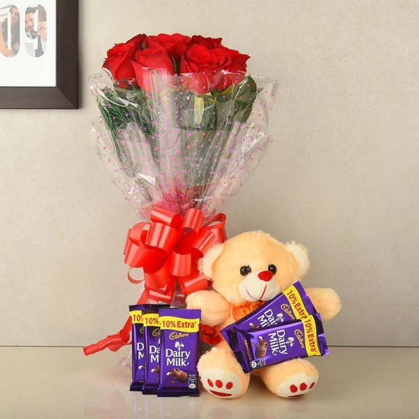 Red Flowers with Chocolate and Teddy