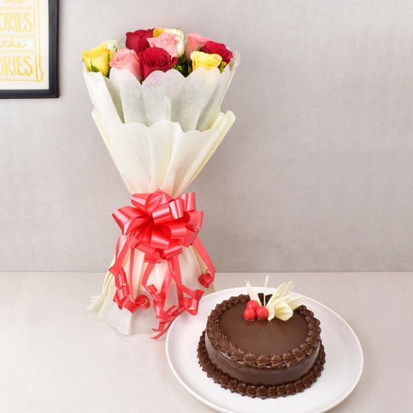 Mixed Roses with Chocolate Truffle Cake