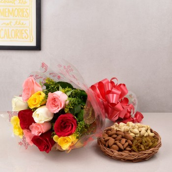12 Mix Roses with Half Kg Assorted Dry fruits(Almond,raisins,cashew nut)