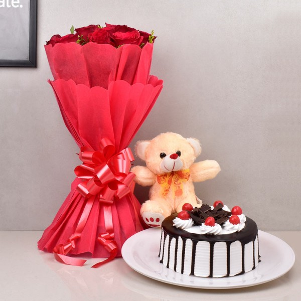 Red Roses with Black Forest Cake and Teddy Bear