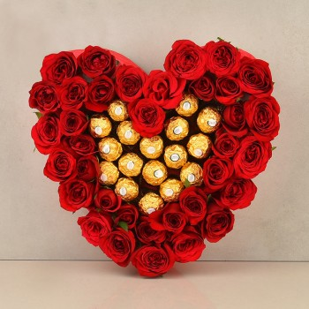 Heart Shaped Arrangement of 30 red roses with Ferrero Rocher Chocolate (16 Pcs)