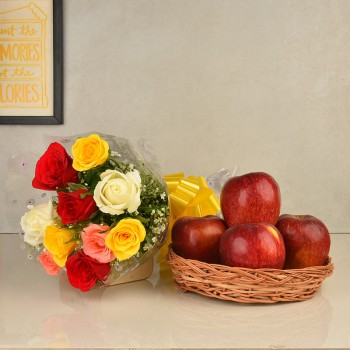 10 Colorful Roses Bouquet with 1 Kg Fresh Apples in a basket