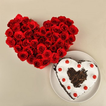 Heart Shaped Arrangement of 40 Red Roses with 1 kg Heart Shape Black Forest Cake