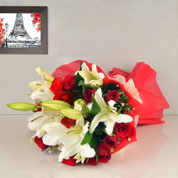 12 Red Roses and 4 White Asiatic Lilies in Paper packing