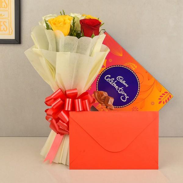 Flower Chocolate Greeting Card Combo
