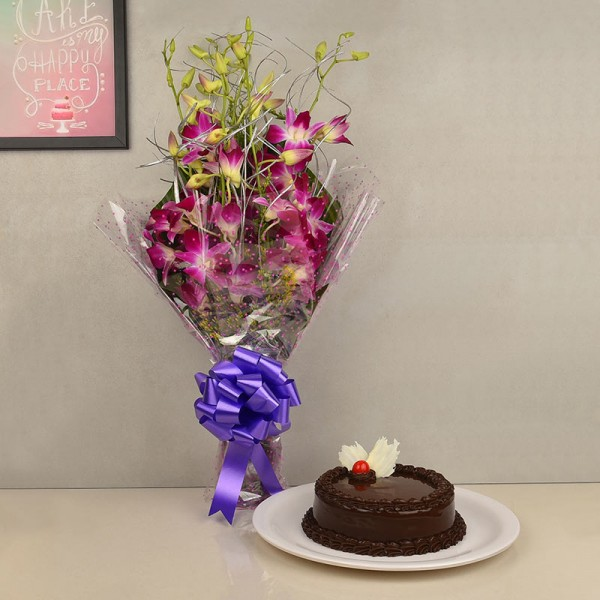 Round Chocolate Cake with Orchids