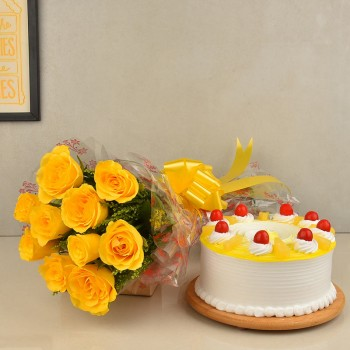 10 Yellow Roses Bouquet with Half Kg Pineapple Cake