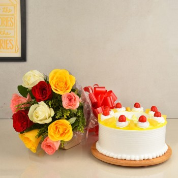 10 Mix Roses Bouquet with Half Kg Pineapple Cake