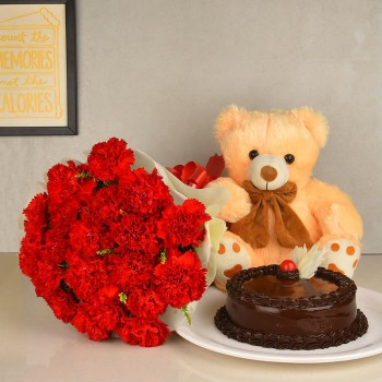 20 Red Carnations with Half Kg Chocolate Cake and Teddy ( 12 inches)