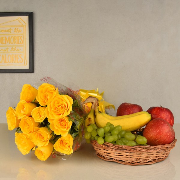 12 Yellow Roses in Cellophane Packing, Yellow Bow with 2 Kg Seasonal Fruits in Basket