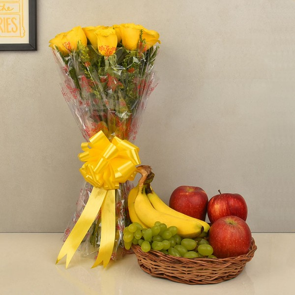 Flowers with Fresh Fruits