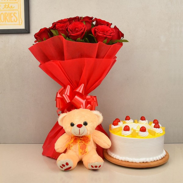 Flowers Cake with Teddy Bouquet Combo