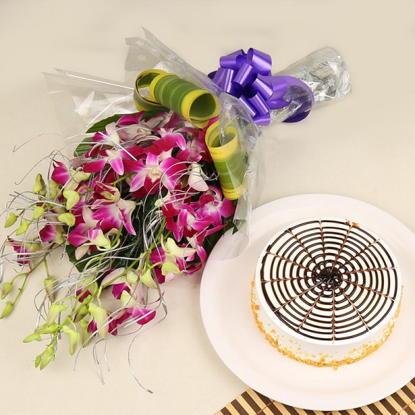 6 Purple Orchids Bunch with Half Kg Butterscotch Cake