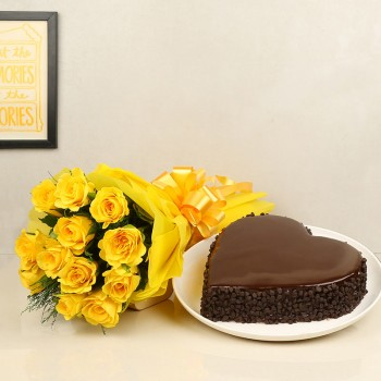 12 Yellow Roses with 1 Kg Heart-shaped Chocochip Chocolate Cake in Yellow Paper Packing