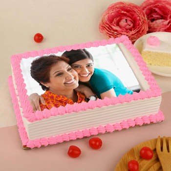One Kg Square Shape Photo Pineapple Cake for Mother