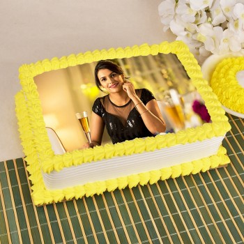One Kg Square Shape Photo Pineapple Cake For Her