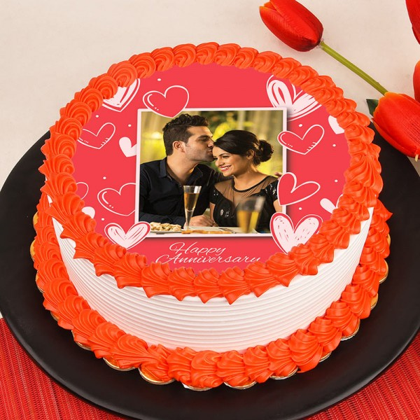 One Kg Photo Pineapple Cake For Anniversary