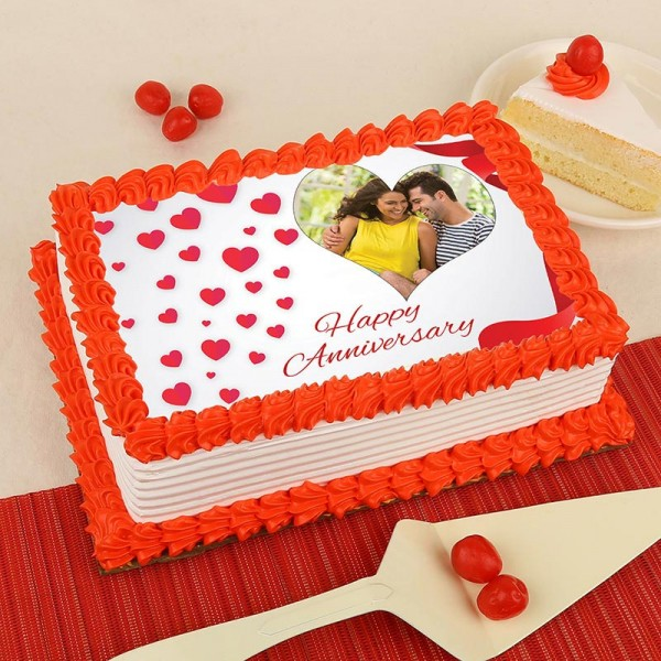One Kg Square Shape Photo Pineapple Cake for Anniversary