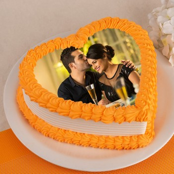 One Kg Heart Shape Photo Pineapple Cake for Couple